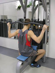 The ending position of the lat pull down machine