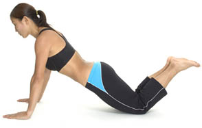 Model in the starting position of an assisted push-up